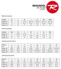 Соответствие размеров одежды <b>Rossignol</b> - ВашиЛыжи.рф