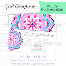 custom gift certificate fancy flower fully customizable custom gift certificate fancy flower fully customizable digital file made to order diy print marketing branding diy