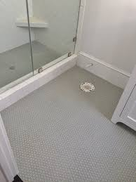 subway tiles tile site largest selection: gray penny rounds on bathroom floor and shower floor x white subway tile set in