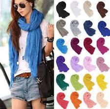 <b>Women Cotton</b> Linen Crinkle Long Soft <b>Scarves</b> Wraps <b>Bufandas</b> ...