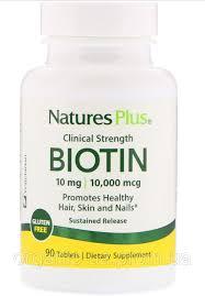 Nature's Plus, <b>Биотин</b>, <b>длительного высвобождения</b>, <b>90 таблеток</b> ...