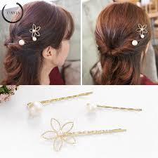 3Pcs <b>Korea</b> hollow <b>five</b>-<b>petal flower pearl</b> hairpin edge clip top clip ...