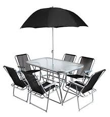 patio table and 6 chairs: garden furniture set  seater parasol outdoor patio table chairs rustic metal