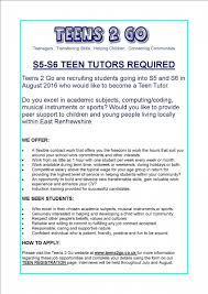 st ninian s high teens 2 go are recruiting students going into s5 and s6 in 2016 for more information please click