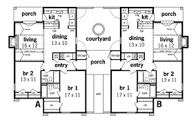 Alberton Stucco Duplex Design Plan D    House Plans and MoreTraditional House Plan First Floor   D    House Plans and More