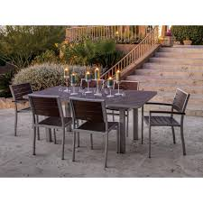 aluminum outdoor table poly wood silver