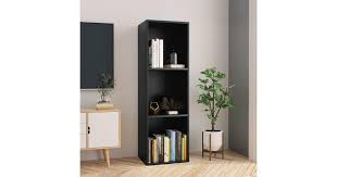 <b>Book Cabinet/TV Cabinet</b> Black 36x30x114 cm Chipboard - Matt Blatt