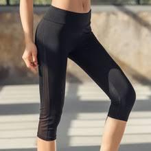 Женские фитнес Йога спортивне штаны <b>3</b>/4 тонкие сетчатые ...