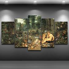 Abstract <b>Photo Wall Modular Pictures</b> 5 Panel Classic Garden For ...