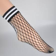 Fashion White Hollow Lattice <b>Geometry</b> Black Breathable Net Socks ...