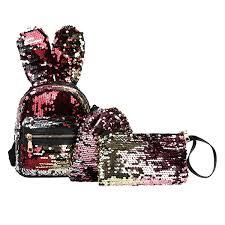 Fashion <b>Student</b> Children Rabbit Ear Bling <b>Sequins</b> Zipper ...
