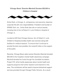 bears docshare tips chicago bears brandon marshall donates 50 000 to children s hospital smita shah
