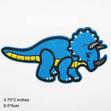 Blue Cartoon <b>Dinosaur</b> Iron On <b>Patches Embroidered</b> Clothes <b>Patch</b> ...