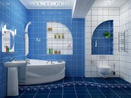 blue bathroom tile ideas:  nice modern blue and white bathroom tiles ideas and nice decor