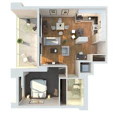 "One "" "" Bedroom Apartment House Plans   Architecture  amp  Design  Modern   Bedroom Floor Plan"