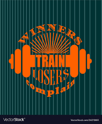 <b>Winners train losers</b> complain motivation quote Vector Image