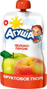 Детское питание <b>пюре АГУША фруктовое</b> Яблоко-Персик с 6 мес ...