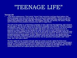Essays on life as a teenager