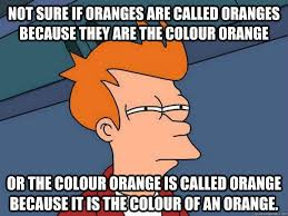 Not sure if oranges are called oranges because they are the colour ... via Relatably.com