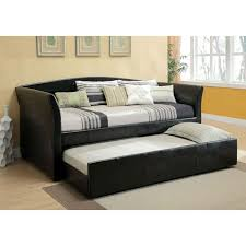 furniture black leather bed with trundle using white and grey bedding placed on cream carpet bedding for black furniture