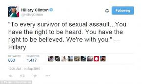 Image result for hillary clinton twitter post sexual assault victims