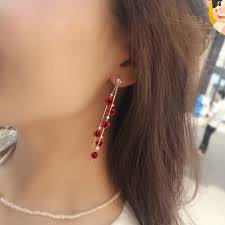 Korea new <b>s925 silver needle</b> delicate red roses tassel earrings