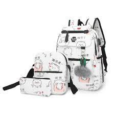 2019 USB Charging Canvas <b>Backpack 3 Pcs</b>/<b>set</b> Women <b>School</b> ...