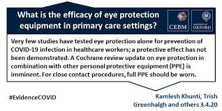 What is the efficacy of <b>eye protection</b> equipment compared to <b>no eye</b> ...