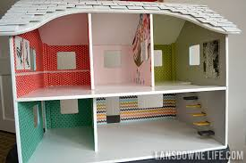repainted dollhouse with wallpaper building doll furniture