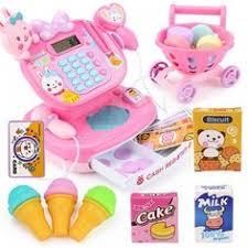 Electronic <b>Supermarket</b> Cash Register <b>Toy</b> Mini Shopping Cart ...