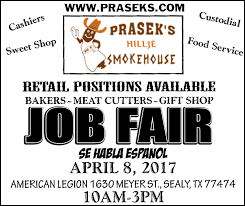 sealy prasek s hillje smokehouse job fair austin county news online tx is looking for qualified people to come join the prasek s team if you think you have what it takes then please come and apply at our job fair on