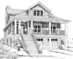 Plan NC  Beach House Plan   Cupola   Beach House Plans    Plan W NC  Cottage  Narrow Lot  Vacation  Low Country  Beach House Plans