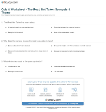 quiz worksheet the road not taken synopsis theme com print the road not taken summary theme worksheet