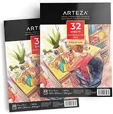 """Arteza 9""""<b>x12</b>"""" Watercolor Pad, 2 Pack, 64 Sheets, 140lb/300gsm ..."""