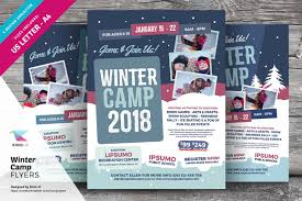 winter camp flyer templates flyer templates on creative market