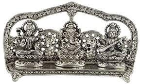 Buy <b>Maximilian</b> Aluminum Laxmi Ganesh and Saraswati Idol (10 cm ...
