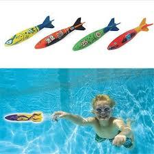4 Pcs/Pack Torpedo Rocket Throwing Toy Swimming Pool ... - Qoo10