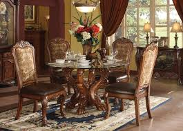 Traditional Dining Room Tables Natural Burnished Oak Finish Wood Dining Table Set With
