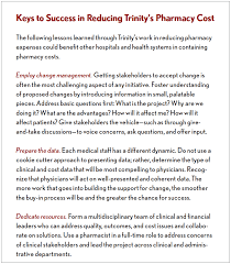 reducing pharmacy costs through improved utilization keys to success in reducing trinity s pharmacy costs