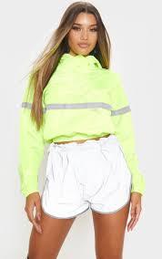 <b>Neon</b> Yellow Shell <b>Reflective Tape</b> Tracksuit Jacket | PrettyLittleThing