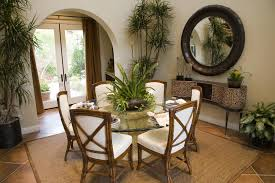 room buy breakfast nook set: casual dining room nook with round glass table and white chairs with bamboo frame
