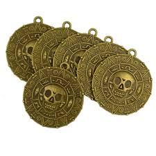 6x Punk <b>Halloween Pirates</b> Aztec Coin Medallion <b>Skull</b> Necklace ...