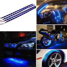 Blue 4pcs 30CM/<b>15 LED</b> Car Motors Truck Flexible Strip Light ...