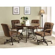 casual dining chairs with casters: wood dining table and caster chairs set