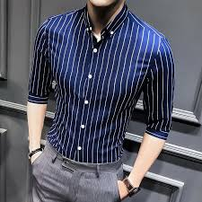 <b>2021 New</b> Shirts for <b>Men</b> Clothing Korean Slim Fit Half Sleeve Shirt ...