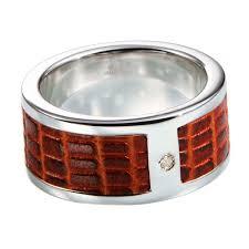 Мужское серебряное <b>кольцо Hot Diamonds</b> с бриллиантом и кожей