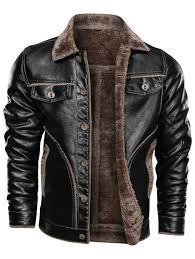 Men's <b>PU Leather</b> Jacket <b>Autumn</b> Winter Thick Plus Velvet Turn ...