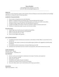resume examples sample technician resume work history as gallery photos of automotive technician resume examples