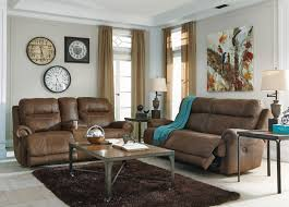 Two Loveseat Living Room Signature Design By Ashley Austere Brown 2 Seat Reclining Sofa
