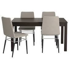 bjursta preben table and 4 chairs brown black ten light gray length black furniture ikea